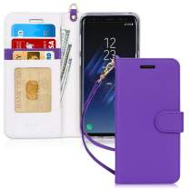 FYY Luxury PU Leather Wallet Case for Samsung Galaxy S8, [Kickstand Feature] Flip Folio Case Cover with [Card Slots] and [Note Pockets] for Samsung Galaxy S8 Purple