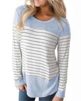 Womens Tops Long Sleeve T Shirt Color Block Striped Shirt Casual Tunic