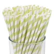 Just Artifacts 100pcs Premium Biodegradable Striped Paper Straws (Striped, Pistachio)