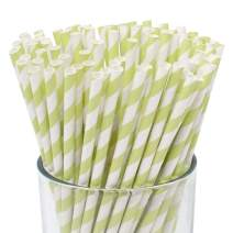 Just Artifacts 100pcs Premium Biodegradable Striped Paper Straws (Striped, Pistachio)