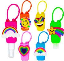 MimeHime Hand Sanitizer Holder Keychain 6pack w/Squeeze AND Spray: 1oz Small Travel Size, Leak Proof Empty Bottles w/Hook Hanging for Backpack, Belt, Pocket, Pocketbac, Purse, Car (color)