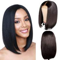 Bob Wig Human Hair 4x4 Frontal Lace Free Part 150% Density Pre Plucked 100% Unprocessed Brazilian Virgin Hair HairUGo Wigs (14 inch) …