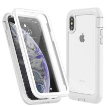 Eonfine iPhone X Case/iPhone Xs Case, Built-in Screen Protector Real 360° Full Body Protection Heavy Duty Shockproof Rugged Cover Skin for iPhone X/Xs 5.8inch (White/Clear)