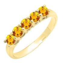 Dazzlingrock Collection 14K Round 3.6 MM Each Gemstone 5 Stone Ladies Anniversary Wedding Band Ring, Yellow Gold