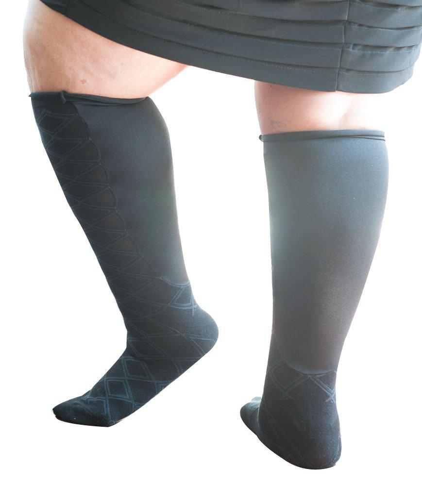 Xpandasox Women's Plus Size/Wide Calf Diamond Cotton Blend Knee High Socks