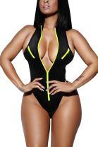 KAKALOT Women's Sexy Hgih Cut Zipper Up V Neck One Piece Monokini Swimwear