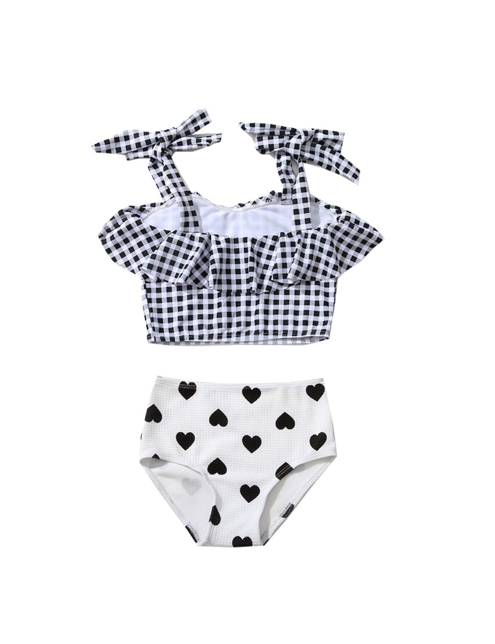 bilison Toddler Baby Girl Swimwear Cute Straps Bikini Set Hearts Print Swimsuit Beachwear Outfits