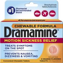 Dramamine Chewable Formula Motion Sickness Relief, 8 Orange Flavored Tablets each (Value Pack of 10)
