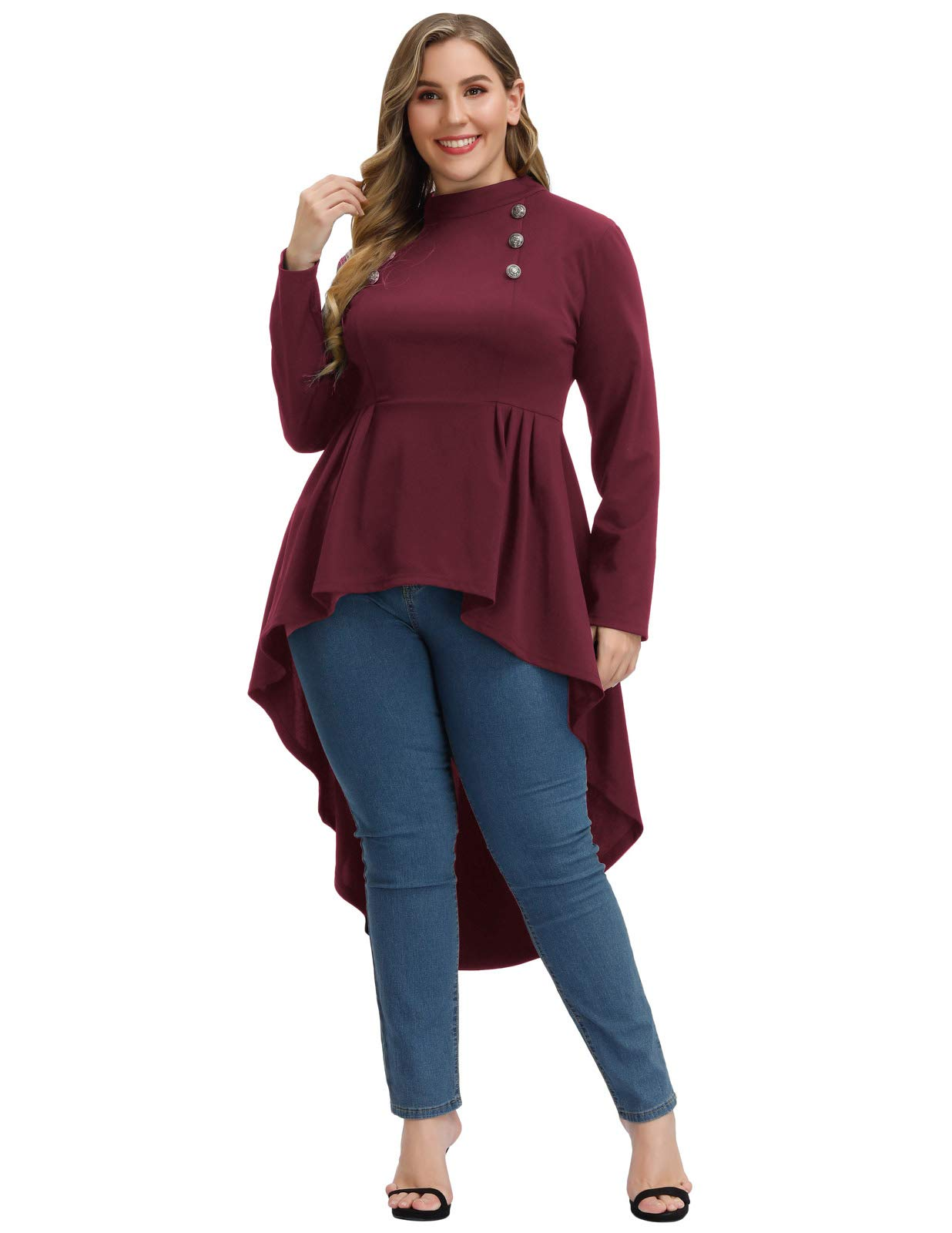Woman Plus Size Steampunk Shirt Gothic Victorian Long Sleeve Blouse Top