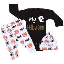 Halloween Newborn Baby Boy Girl Outfits My First Halloween Romper + Pumpkin Pants + Hat Clothes Set