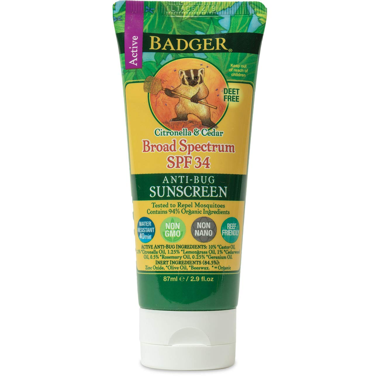 Badger - SPF 34 Anti-Bug Sunscreen Cream - DEET-Free Sunscreen Bug Repellent - Broad Spectrum Water Resistant Reef Safe Sunscreen, Natural Mineral Sunscreen with Organic Ingredients 2.9 fl oz