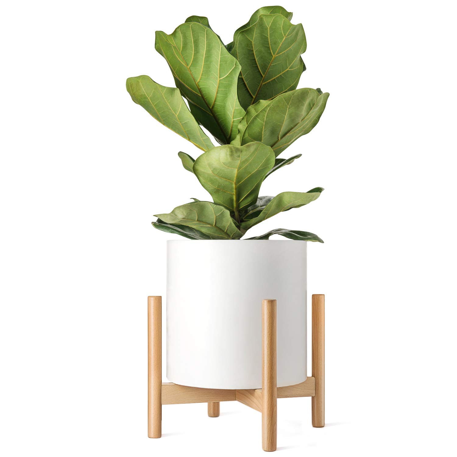 Mkono Plant Stand Mid Century 14'' Plant Holder (Pot Not Included) Wood Flower Potted Display Rack, Up to 14 Inch Planter, Natural