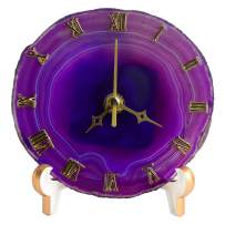 """AMOYSTONE 5"""" Agate Desk Clocks for Living Room Decor Round Clock Battery Operated Dyed Purple"""
