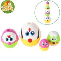 letsgood Nesting Easter Chicken Egg Toy for Baby & Toddlers - Early Educational Toys, Cute Chicken Family, Set of 4