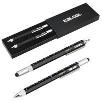 "Multitool Pen [2 Pack] Stylus Pen 9-in-1 Combo Pen [Functions as Touchscreen Stylus, Ballpoint Pen, 4"" Ruler, Level, Phillips Screwdriver, and Flathead] Gift (Black+Black)"