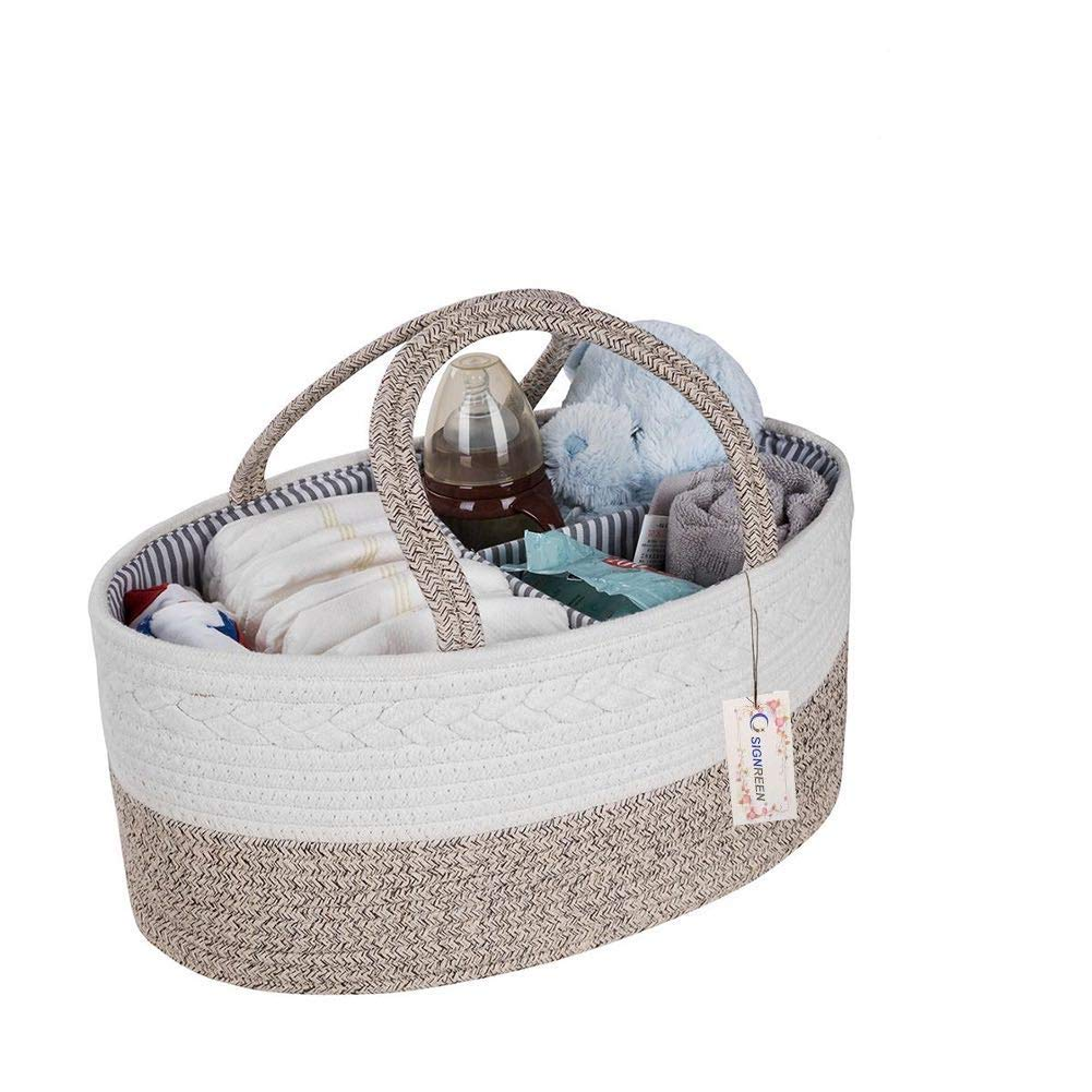 SIGNREEN Cotton Rope Baby Diaper Caddy Organizer - Nursery Diaper Tote Bag with Dividers for Diapers & Wipes with Sturdy Handles | Baby Shower Gift Basket | Portable Car Travel Organizer (Brown)