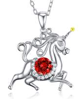 Birthday Gifts for Daughter Red Garnet Jewelry Unicorn Necklace for Teen Girls Granddaughter Sterling Silver Animal Necklace