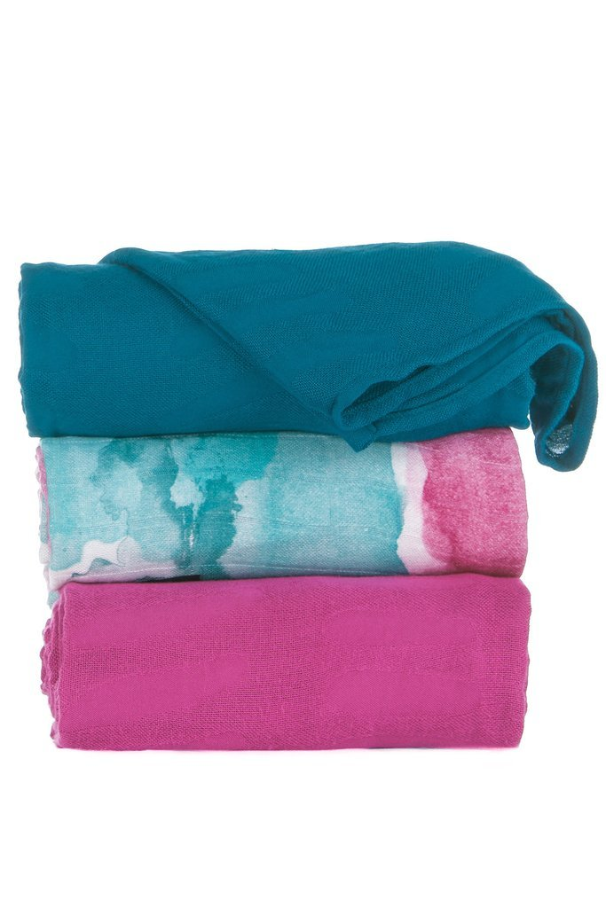 Tula Baby Blanket Set, 3 Pack of 47x47 Inches, 100% Viscose from Bamboo Unisex Swaddle Blankets – Watercolor (Multi-Colored, Fuchsia, Teal)