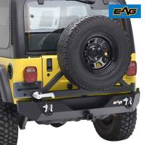 EAG Rear Bumper with Tire Carrier Swing Off Road Fit for 87-06 Wrangler TJ YJ