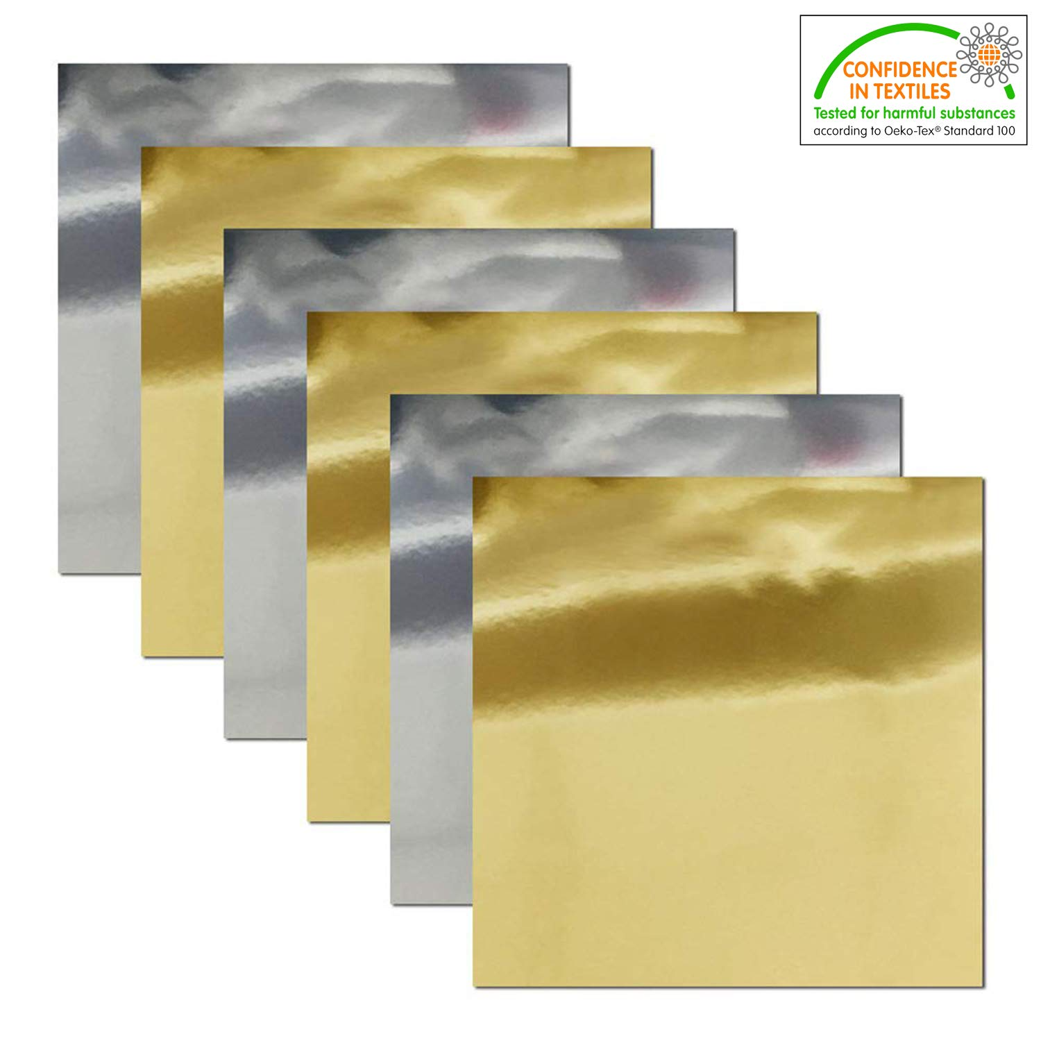 Stretchable Metallic Heat Transfer Vinyl Gold&Silver Foil, Iron On HTV Bundle for DIY Your Own Clothes, 12x10 Inch, Pack of 6, Eco-Friendly