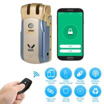 OWSOO WAFU Smart Door Lock WiFi Electronic Lock Remote Control Invisible Keyless Entry Door Lock Zinc Alloy Metal Smart Door Lock iOS Android APP Unlocking with 2 Remote Controllers, Blue&Gold