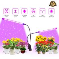 Grow Light Plant Light 40W Dual Head Grow Lamp 9 Dimmable Level Plant Grow Light for Indoor Plants with Full Spectrum,Auto On/Off 3/9/12H Timer, Adjustable Gooseneck 3 Switch Modes