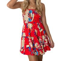 Zyyfly Women Summer Skater Dresses Sexy Flowy Mini Floral Tube Ruffle Dress,Red Floral#1,Large