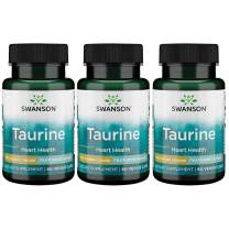 Swanson Amino Acid Ajipure Taurine Pharmaceutical Grade 500 Milligrams 60 Veg Capsules (3 Pack)