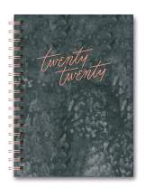 2019-2020 Charcoal Leatheresque Large Tabbed Spiral Agenda