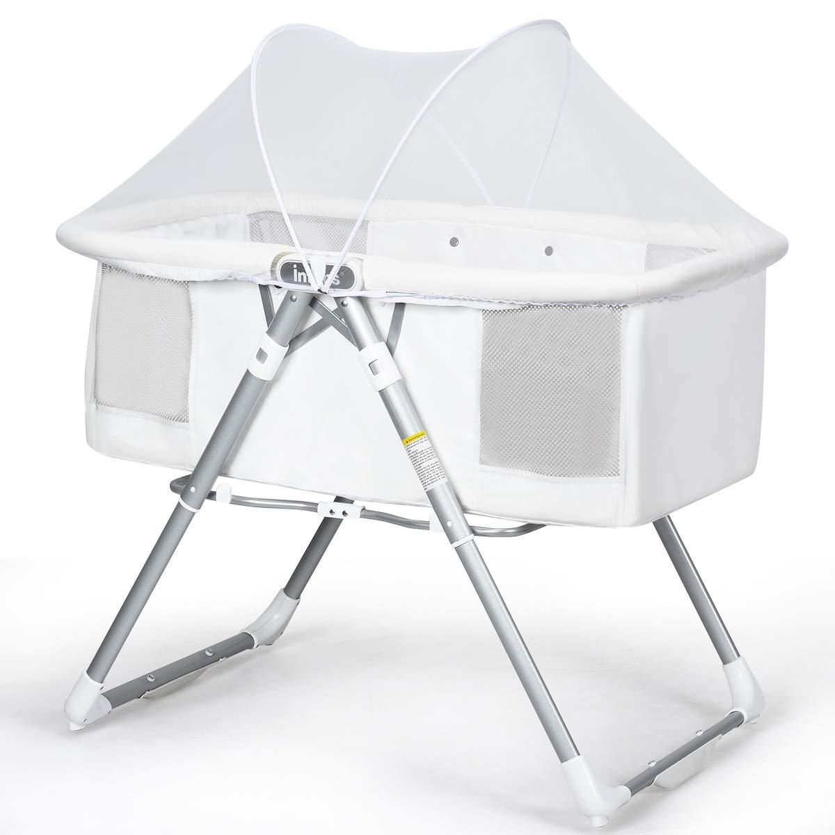 INFANS 2 in 1 Rocking Bassinet for Newborn Baby, One-Second Fold Travel Crib with Detachable & Thicken Mattress, Height Adjustable Legs, Mosquito Net, Cradle with Rock Mode & Stationary (White)