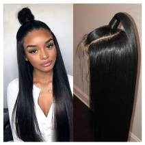 "360 Human Hair Wigs, VIPbeauty 150% Density Glueless Brazilian Straight Human Hair 360 Lace Frontal Wigs Pre Plucked with Baby Hair for Black Women(18"", Nature Color)"