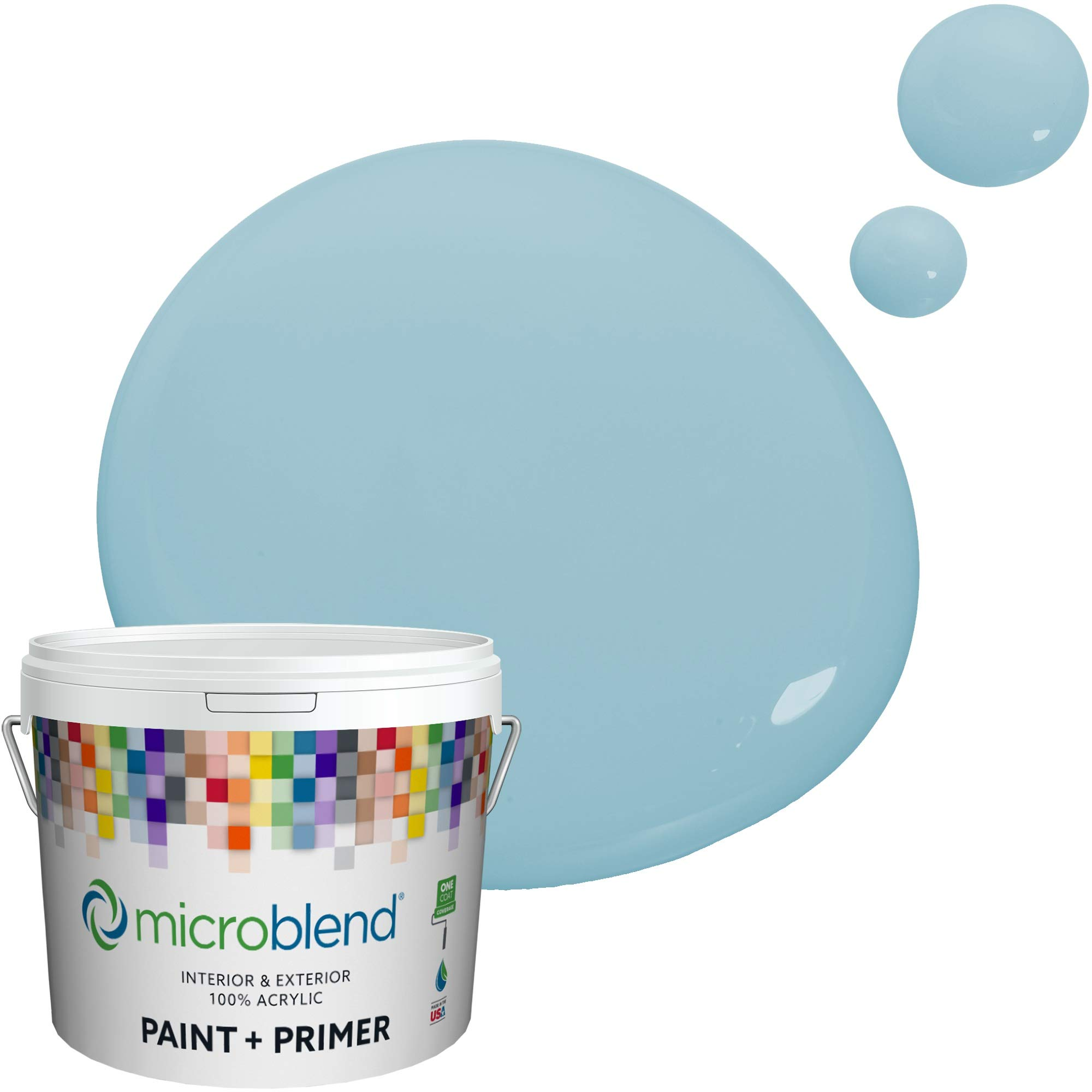 MicroBlend Interior Paint + Primer, Smooth Blue, Eggshell Sheen, 1 Gallon, Custom Made, Premium Quality One Coat Hide & Washable Paint (73221-2-M0366B3)