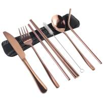 7 Pieces Portable Flatware Set, Healthy Stainless Steel Cutlery Set Silverware Set Travel Utensils Set with Fork Spoon Chopsticks Straws for Travel Camping Office School - Dishwasher Safe&Eco-Friendly