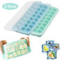 Ice Cube Trays,2 Pack Silicone Ice Cube Molds with Lid,24 Ice Tray,Easy-Release Ice Trays Stackable,BPA Free (Green+Blue)