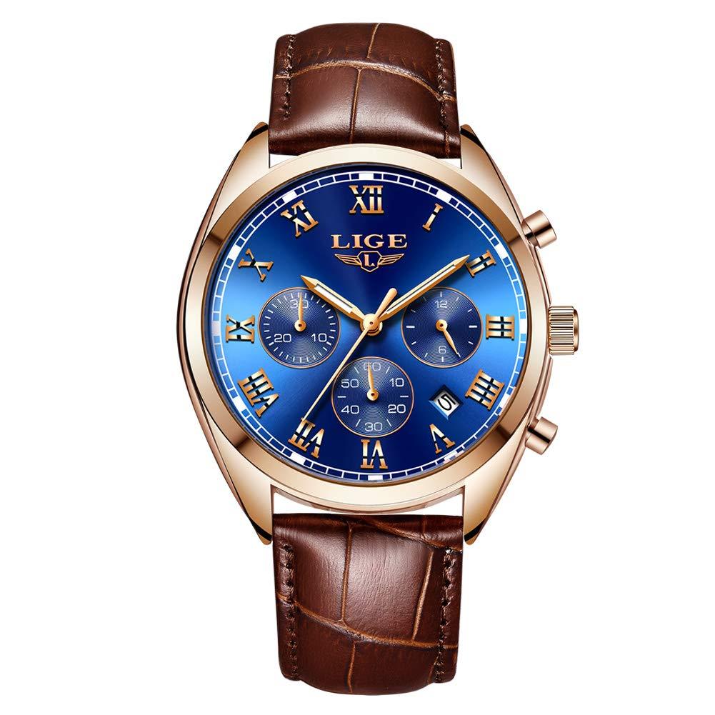LIGE Watches for Men Fashion Elegant Chronograph Waterproof Analog Quartz Gents Watch Brown Leather Classic Casual Black Large Dial Men Male Dress Wrist Watch
