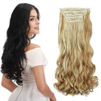 "REECHO 18"" Curly Wavy 4 Pieces Blonde Mixed Clip in on Hair Extensions 25H613"