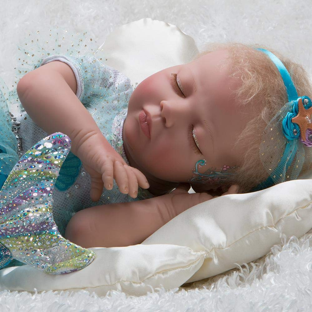 Paradise Galleries Mystic Mermaid Doll, 23 inches Head to Tail, Reborn Baby Girl, Blonde Mohair & Actual Tail w/ Doll Armature, 4-Piece Set