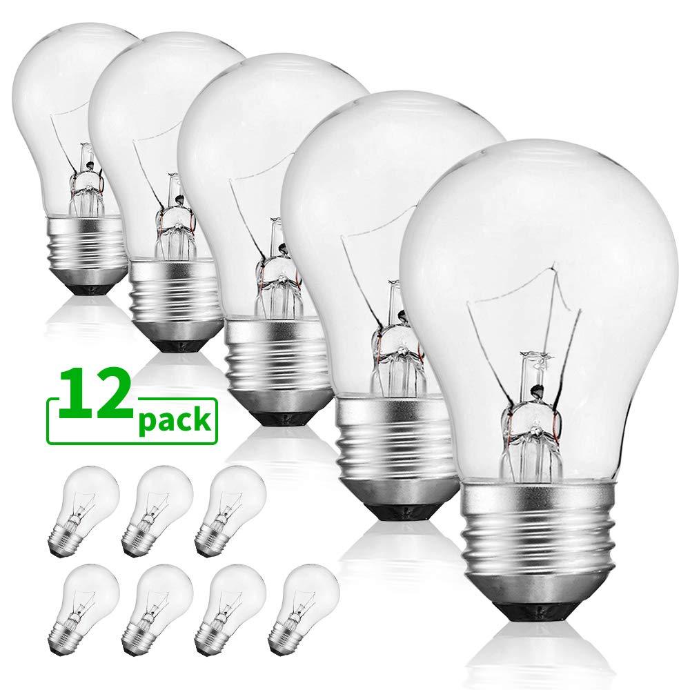 40 Watt Warm White Bulbs Bright And Long Lasting Appliance Light A15 Ceiling Fan Light Bulb Incandescent With E26 E27 Medium Base 12 Packs