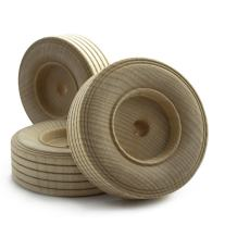 """3"""" inch Treaded Wooden Toy Wheel at 1"""" inch Thick with a 3/8"""" inch Hole - Bag of 4"""