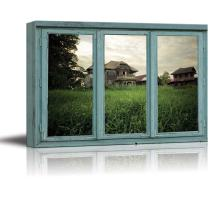 wall26 - an Aging House on a Hill overlooks Field of Overgrown Grass - Canvas Art Home Decor - 24x36 inches