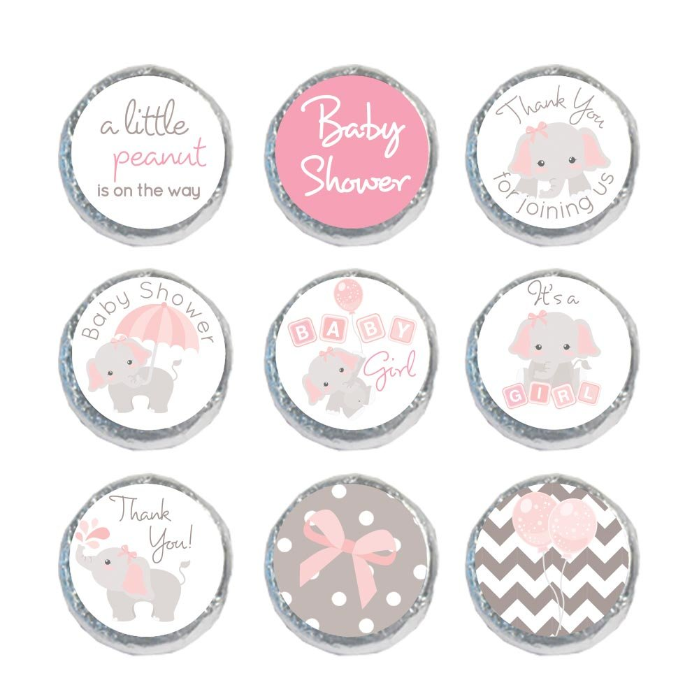 324 Mini Candy Stickers Girl Baby Shower Favors Elephant Labels Tiny 0.75 Inch (Light Pink)