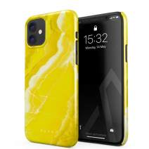 BURGA Phone Case Compatible with iPhone 11 - Neon Yellow Marble Citrus Stone Summer Vibes Vivid Bright Cute Case for Girls Thin Design Durable Hard Plastic Protective Case