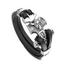 PiercingJ Mens Viking Thor's Hammer Mjolnir Bracelet Stainless Steel Skull Hammer Black Genuine Leather Bracelet Viking Wristband for Men