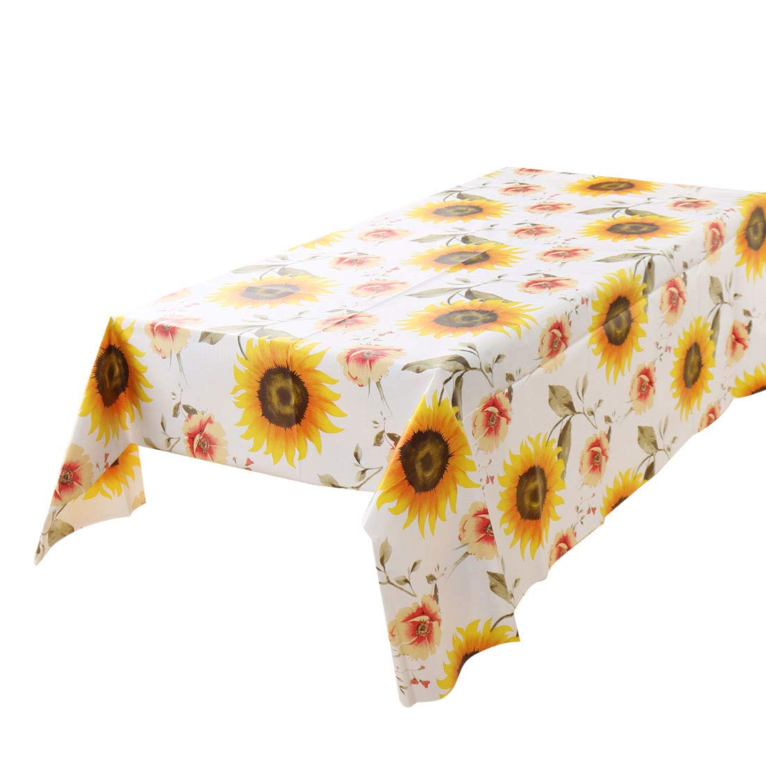 uxcell Vinyl Rectangle Table Cover Wipe Clean PVC Tablecloth Oil-Proof/Waterproof Stain-Resistant - 55 x 40 Inch (Sunflower Pattern)