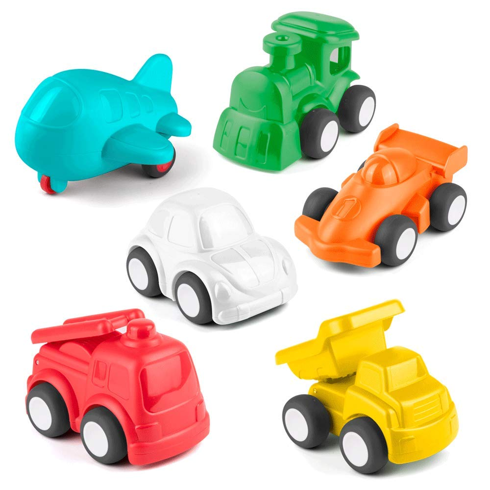KidPal Baby Toy Car for 1 2 Year Old, 6 Pack Car Toy Vehicle for Baby Boy Girl, Color Learning   Role-Play Fun Push and Go Car Toy Gift for 12M+ 18M+, Educational Baby Toy Free-Wheel Cognitive Vehicle