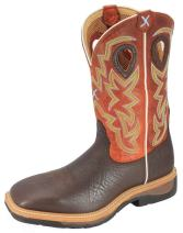Twisted X Mens Lite Cowboy Distressed Saddle/Cherry Workboot (MLCS001)