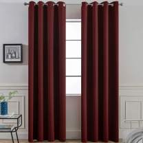 Yakamok Thermal Insulated Grommet Blackout Curtains with 2 Ties for Bedroom/Living Room, Light Blocking Curtain for Kitchen (52Wx96L, Burgundy red, 2 Panels)