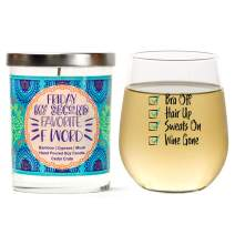 """""""Bra Off Hair Up"""" Gift Set   Cute Stemless 15oz Wine Glass   """"Friday, My Second Favorite F Word"""" Luxury Scented 10 oz. Soy Candle   Bamboo, Cypress, Musk   Birthday Gifts for Women   Funny Gifts"""