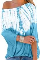 Eytino Women Summer Tie Dye Printed Off The Shoulder Tops Loose Short Sleeve Blouses Shirts(S-XXL)