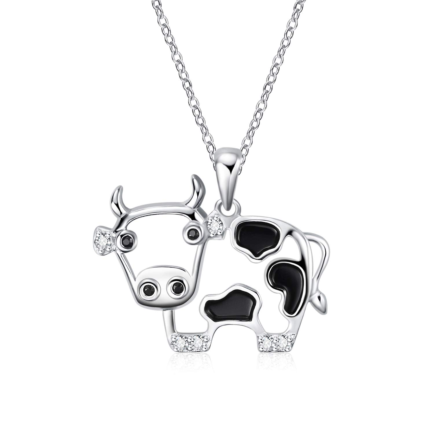WINNICACA S925 Sterling Silver Cute Animal Necklace Birthday Jewelry Gifts for Pig/Mouse/Cow/Flamingo Lovers